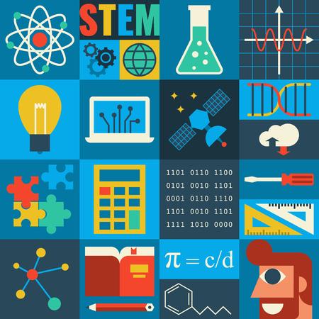 Illustration pour Illustration of STEM education in apply science concept - image libre de droit