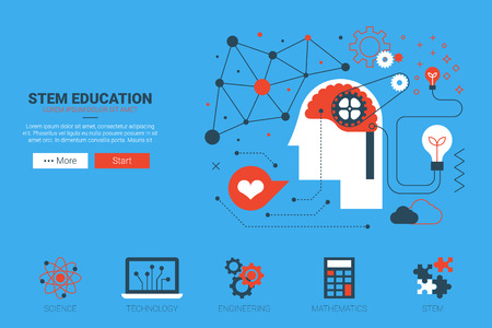 Illustration pour STEM- science, technology, engineering and mathematics website concept with icon in flat design - image libre de droit