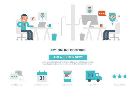 Online doctor flat design for landing page website or magazine illustration print