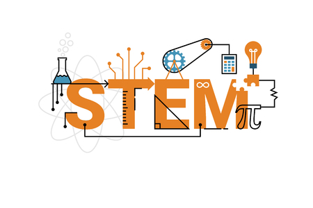 Ilustración de Illustration of STEM education word typography design in orange theme with icon ornament elements - Imagen libre de derechos