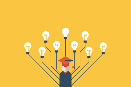 Illustration for Education concept education, graduation character with many light bulbs refer to multiple intelligences - Royalty Free Image