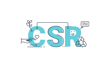 Photo for CSR : Corporate social responsibility word lettering typography design illustration with line icons and ornaments in blue theme - Royalty Free Image