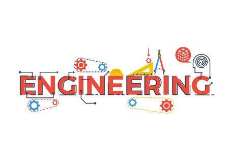 Ilustración de Illustration of ENGINEERING word in STEM - science, technology, engineering, mathematics education concept typography design with icon ornament elements - Imagen libre de derechos