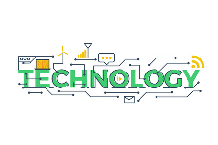 Foto de Illustration of TECHNOLOGY word in STEM - science, technology, engineering, mathematics education concept typography design with icon ornament elements - Imagen libre de derechos