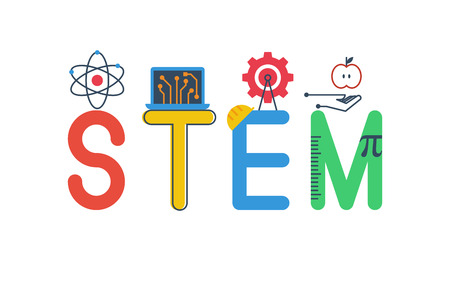 Ilustración de Illustration of STEM - science, technology, engineering, mathematics education word typography design in colorful fun theme with icon ornament elements - Imagen libre de derechos