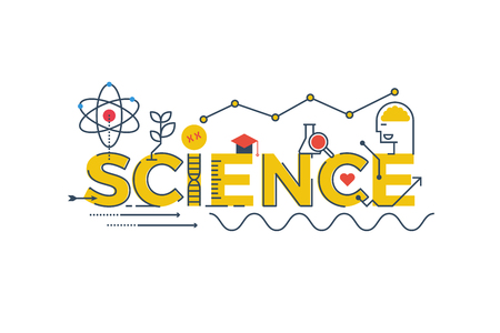 Ilustración de Illustration of SCIENCE word in STEM - science, technology, engineering, mathematics education concept typography design with icon ornament elements - Imagen libre de derechos