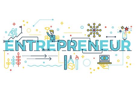 Ilustración de Entrepreneur word lettering typography design illustration with line icons and ornaments in blue theme - Imagen libre de derechos