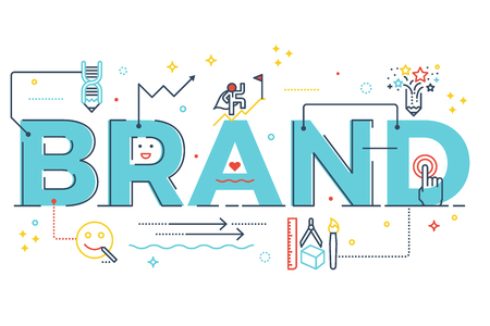 Illustration for Brand word lettering typography design illustration with line icons and ornaments in blue theme - Royalty Free Image