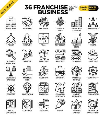 Illustration for Franchise business outline icons modern style for website or print illustration - Royalty Free Image