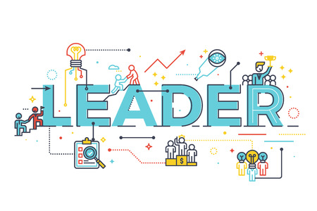 Vektor für Leader word in business leadership concept, word lettering design illustration with line icons and ornaments in blue theme - Lizenzfreies Bild