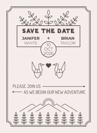 Illustration for Wedding Invitation Card Template with leaf and origami bird over meadow field line illustration - Royalty Free Image