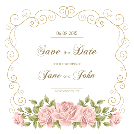Illustration pour Vintage wedding invitation with roses. Invitation template with gold curling frame. Save the date design. Vector illustration - image libre de droit