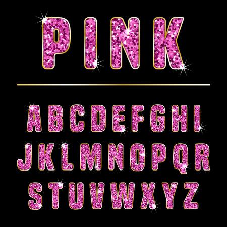 Illustration pour Glitter alphabet made of pink shiny confetti. Vector illustration - image libre de droit