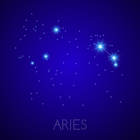 Zodiac Constellation Aries  Realistic star map fragment  Vector