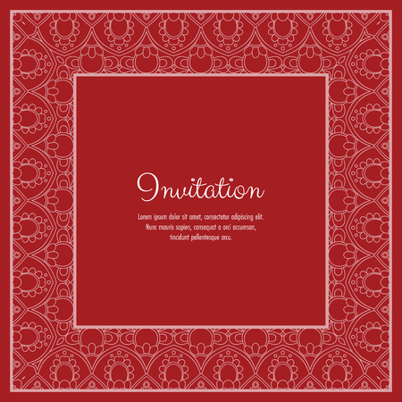 Illustration pour Abstract ornamental lace frame for greeting card or invitation. Vector Illustration - image libre de droit