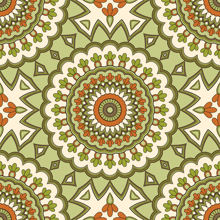 Illustration pour Decorative colorful ethnic seamless pattern for fabric or wrapping in oriental style. Hand drawn illustration - image libre de droit