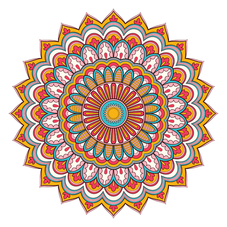 Illustration pour Decorative colorful ethnic mandala pattern. Design element for greeting card, banner or poster in oriental style. Hand drawn illustration - image libre de droit