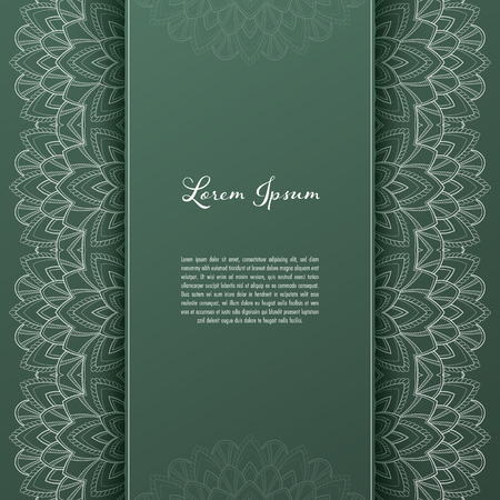 Illustration pour Greeting card or invitation template with filigree lace frame. Design for romantic events - image libre de droit