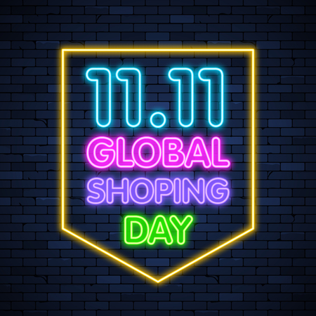 Illustration for 11 11 global shoping day glowing neon sign on brick wall background - Royalty Free Image