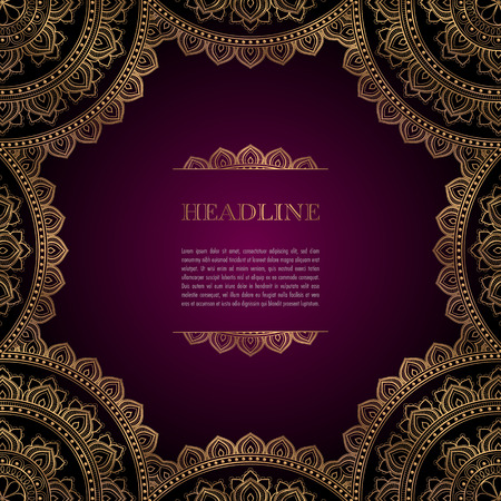 Illustration for Luxury background with golden ornamental frame for greeting card, invitation or announcement - Royalty Free Image