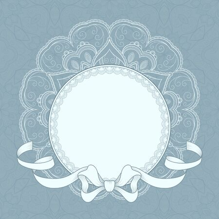 Illustration for Vintage background with lace frame and ribbon for greeting card, invitation or announcement - Royalty Free Image
