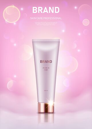 Illustration pour Realistic cream tube with golden lid on pastel pink background with bokeh lights. Advertising poster for the promotion of cosmetic skin care premium product - image libre de droit