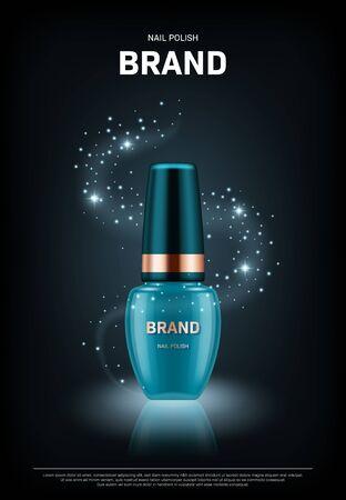 Illustration pour Realistic nail polish bottle with golden lid on black background. Cosmetic brand advertising concept design - image libre de droit