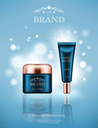 Illustration pour Realistic face cream jar and serum tube with golden lids on light blue background with bokeh lights. Advertising poster for the promotion of cosmetic skin care premium product - image libre de droit