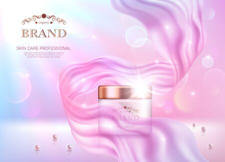 Illustration pour Realistic cream jar with golden lid on pink bokeh background with smooth transparent chiffon fabric. Advertising poster for the promotion of cosmetic skin care premium product - image libre de droit