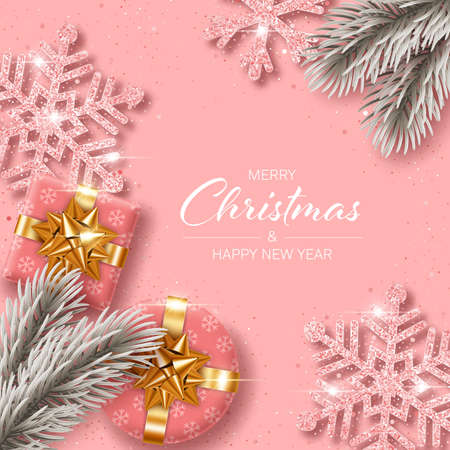 Illustration pour Christmas background with gift boxes, pine branches and shiny snowflakes made of confetti. Design element for greeting card, party invitation or banner - image libre de droit