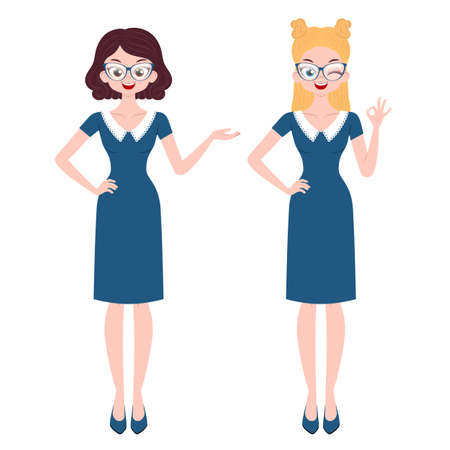 Illustration for Young women characters with different gestures isolated on white background - Royalty Free Image