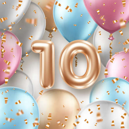 Illustration for Anniversary greeting card with air balloons, golden confetti and 3d numbers - Royalty Free Image