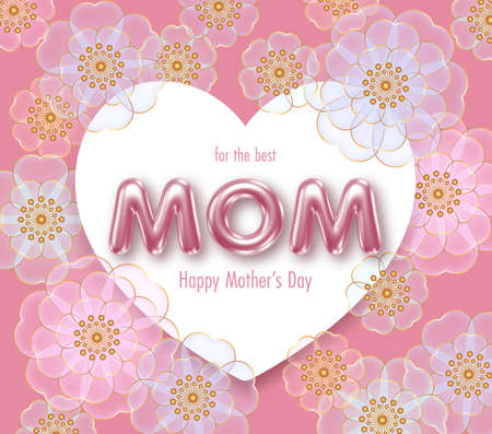 Illustration for Happy Mothers day background with 3d letters and flowers. Greeting card, invitation or sale banner template - Royalty Free Image
