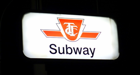 Toronto TTC subway sign in proximity of a station on September 29, 2013 in Toronto