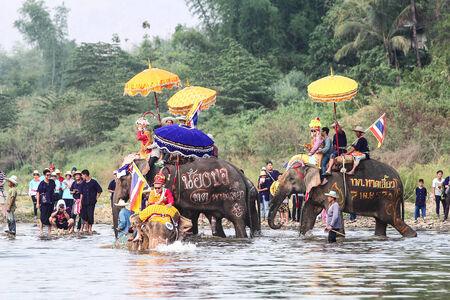 Amazing thailand,Sukhothai,Thailand,April 7,2014 Elephant parade traditionally ordained at Hat Siao