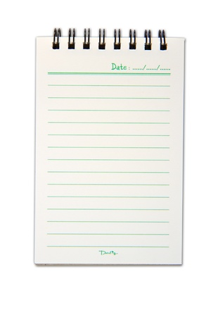 Blank one face white paper notebook vertical