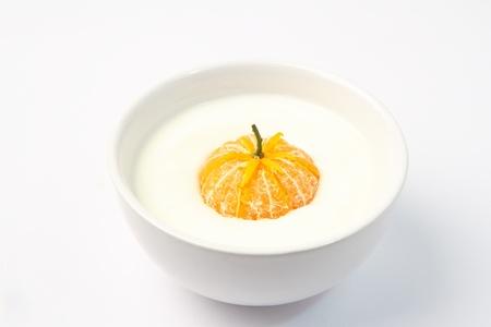 Yogurt with fresh orange.