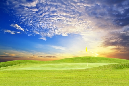 Photo for golf course with beautiful sky - Royalty Free Image