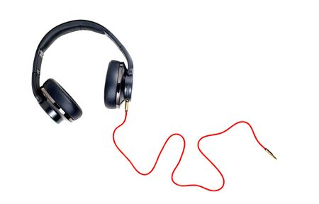 Photo for Black headphone and red cable isolate on white background. - Royalty Free Image