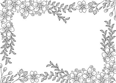 Illustration for Flower frame coloring book for adult. doodle style.vector illustration. handdrawn. - Royalty Free Image