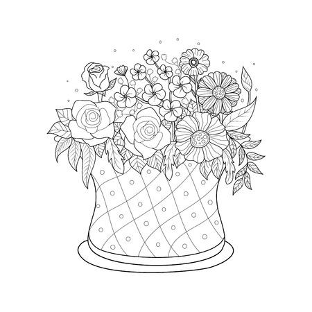 Illustration pour Coloring book page of flower basket for adult.Valentine's day. Vector illustration. Hand drawn. doodle style. - image libre de droit