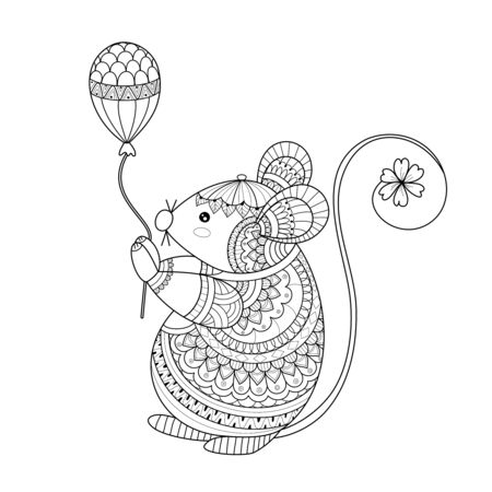 Illustration for Rat coloring book of style for adult. Vector illustration.Hand drawn. - Royalty Free Image
