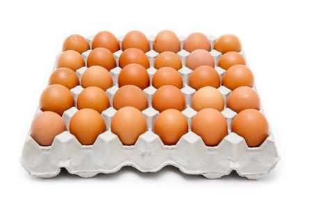 Foto für Pack 30 eggs on a white background. - Lizenzfreies Bild