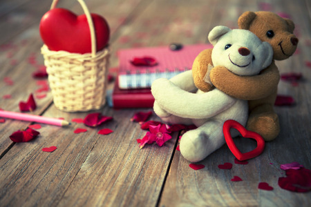 Photo pour happy lovely bears card background for valentines day, vintage fashion photo - image libre de droit