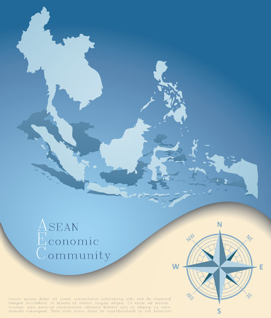 Abstract AEC (ASEAN Economic Community) map in blue tone, grunge
