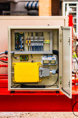 Photo pour The electrical panel for wireless remote control on movable machine - image libre de droit