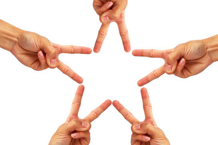 Photo for create hand is star shape in mean that teamwork to success isolated on white background - Royalty Free Image