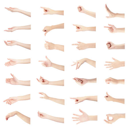 Photo pour multiple collection right hand of woman in gestures and white skin isolated on white background - image libre de droit