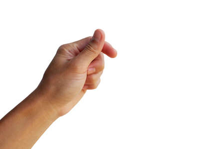 Photo pour use forefinger and thumb are in snap gesture on white background - image libre de droit