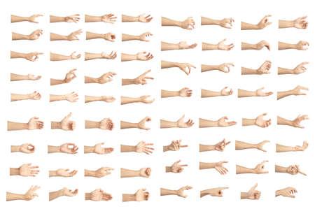 Foto de hand collection in gestures with white skin isolated on white background - Imagen libre de derechos